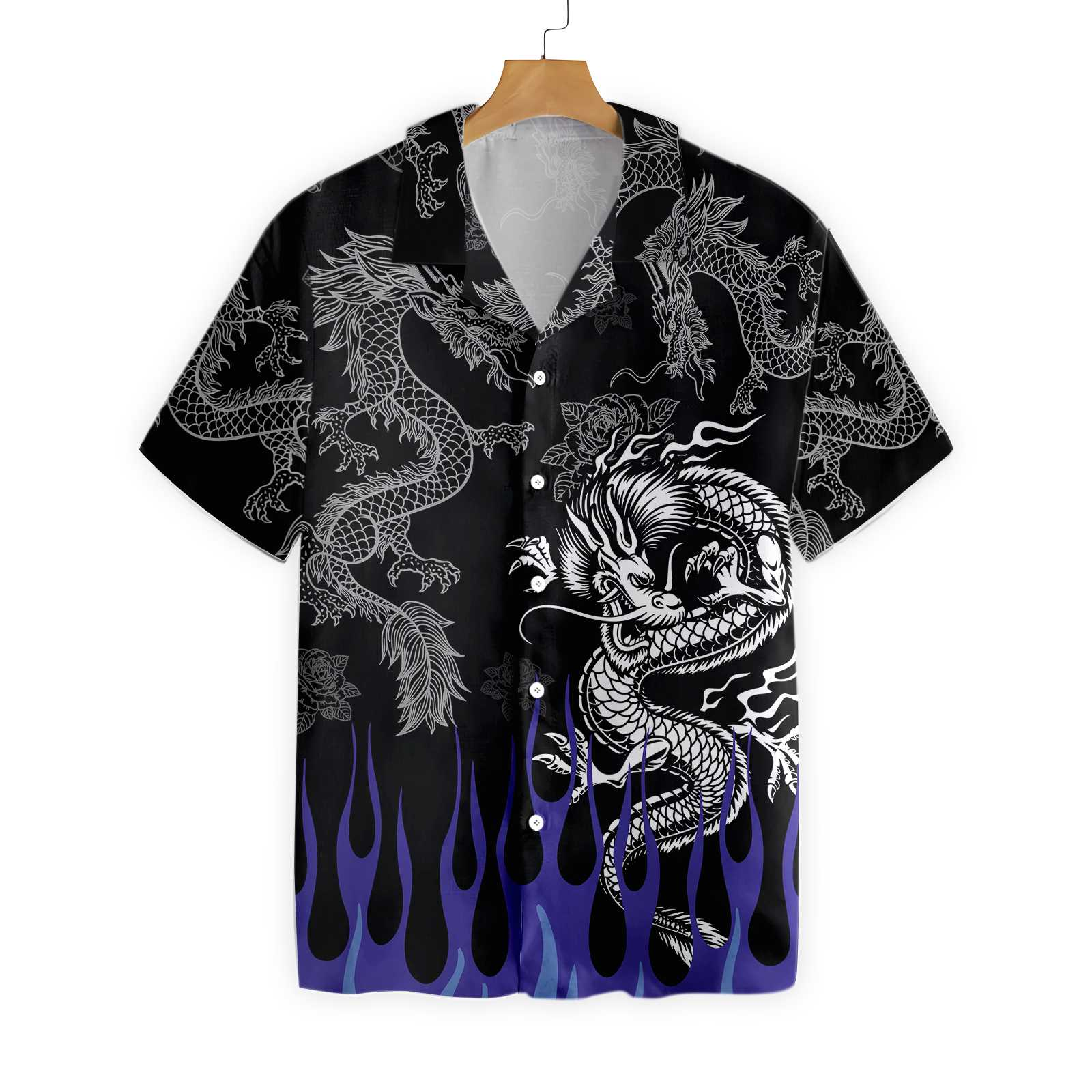 Dragon With Blue Flame Hawaiian Shirt