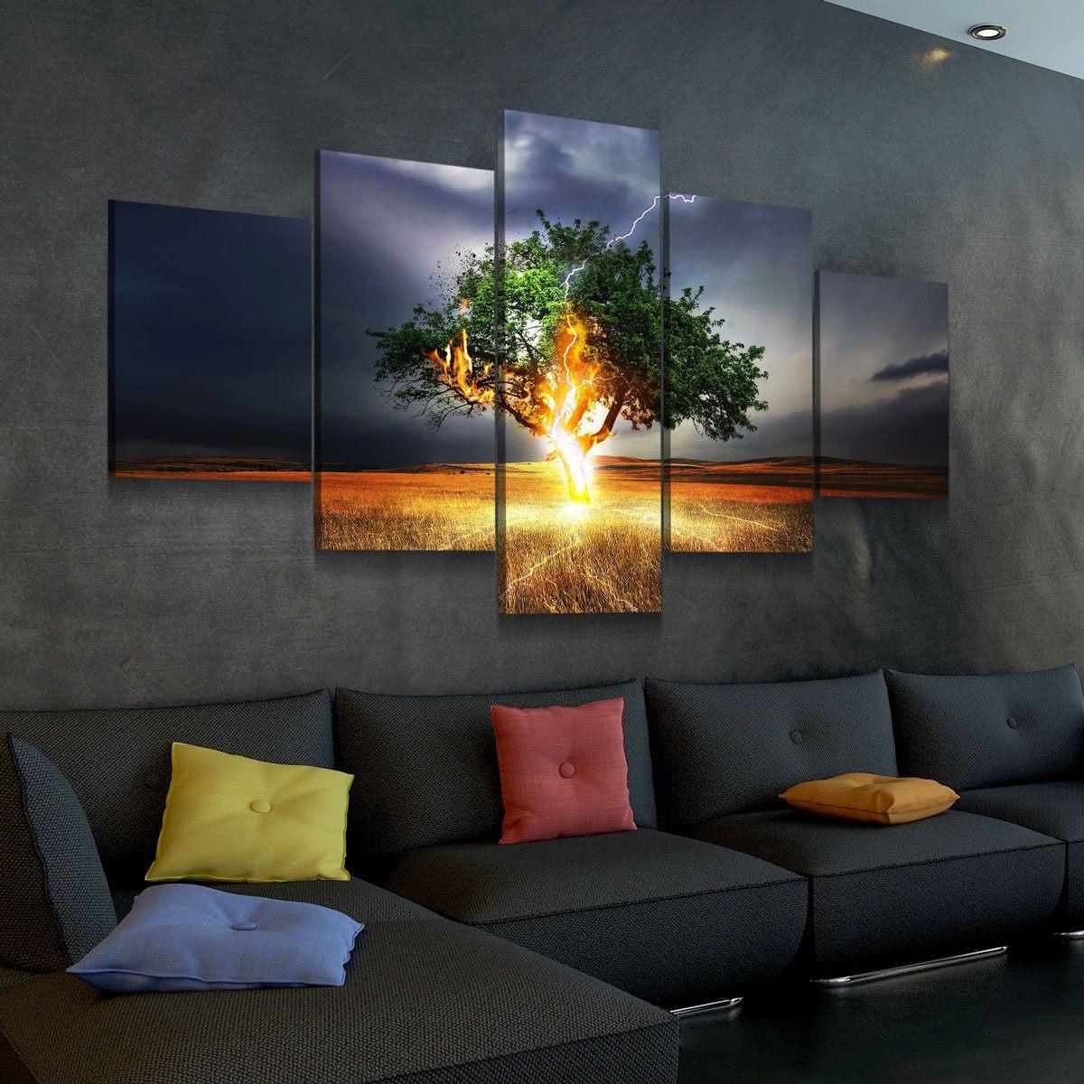 Electrified Tree 5 panel canvas wall art