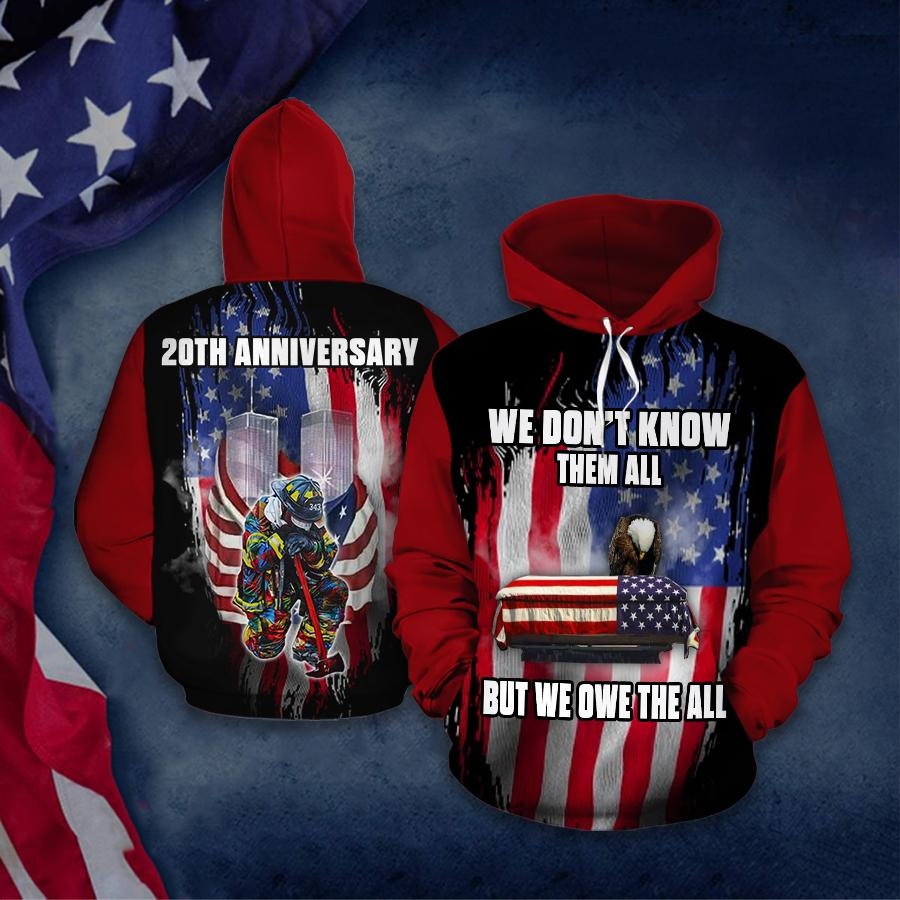 September 11 Attacks 20th Anniversary Firefighter Never Forget Firefighter 3D Hoodie