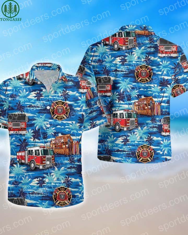 FIREFIGHTER BLUE OCEAN HAWAIIAN SHIRT