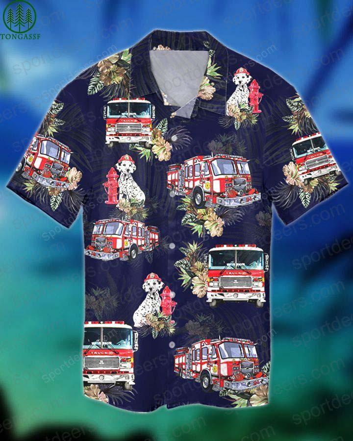 FIREFIGHTER DOG TROPICAL hawaiian shirt