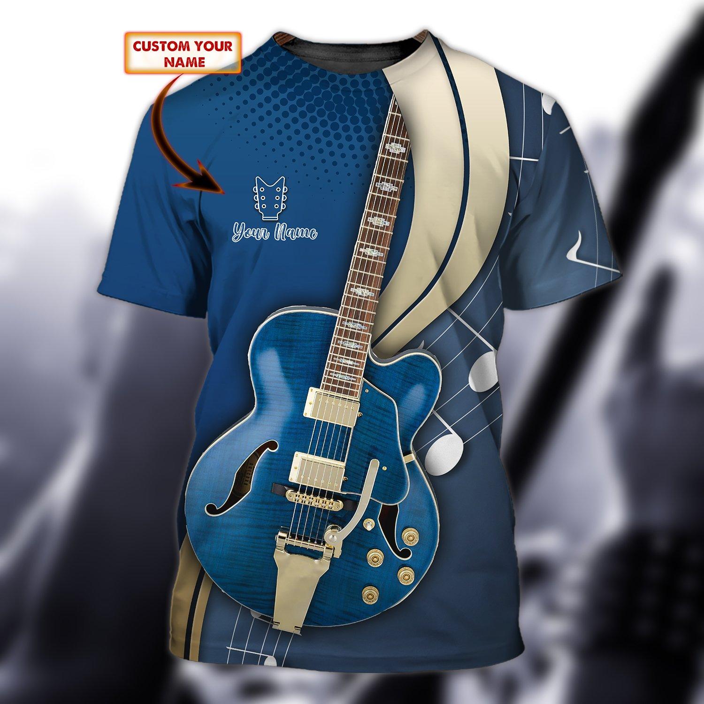 Guitar Lover Blue Custom 3D T Shirt