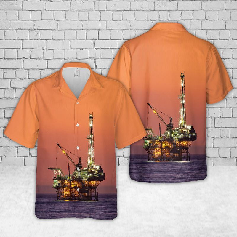 Oil Platform Holly Offshore oil and gas in California Sunset Hawaiian Shirt