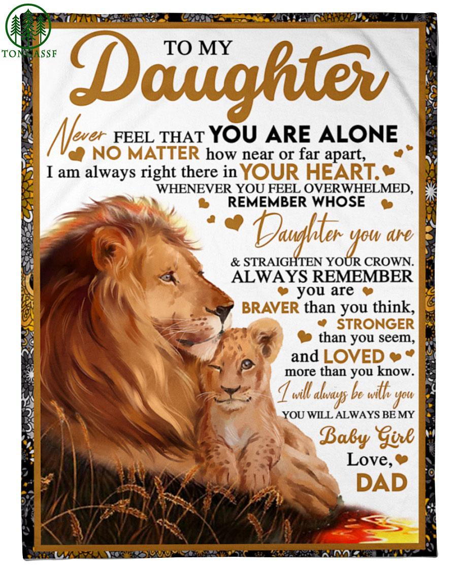 Father lion and baby girl fleece blanket
