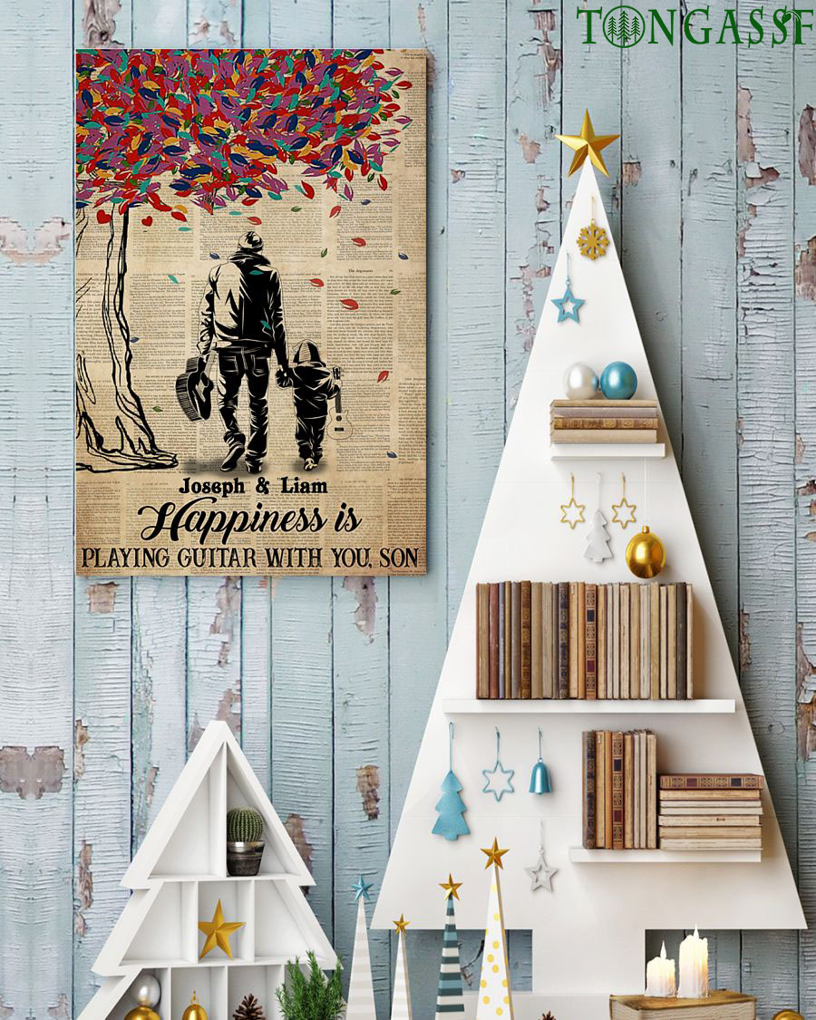 Custom Father's Happiness is playing guitar with Son vertical poster