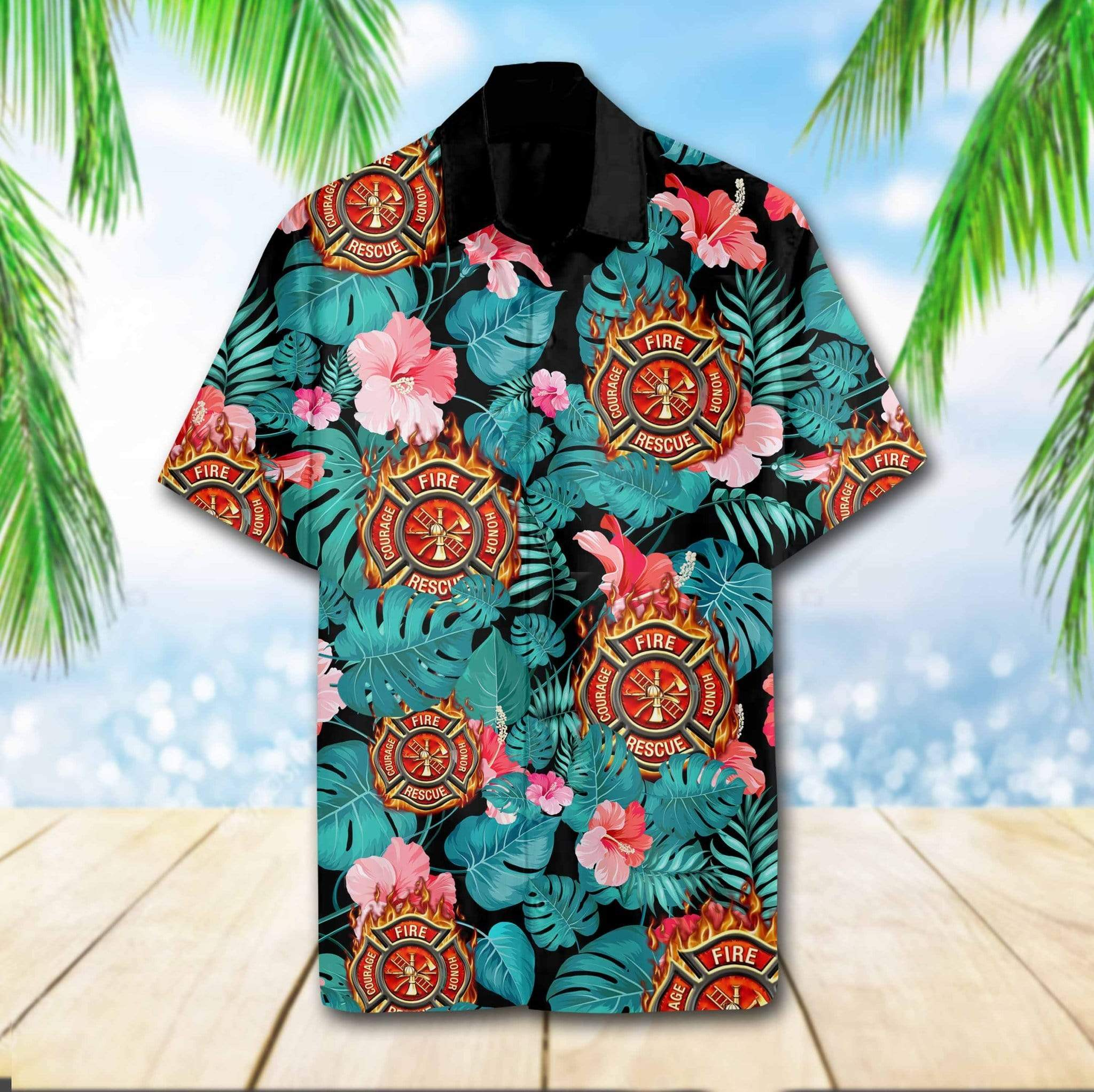 Firefighter Hibiscus Flower Hawaiian Summer Aloha Shirts