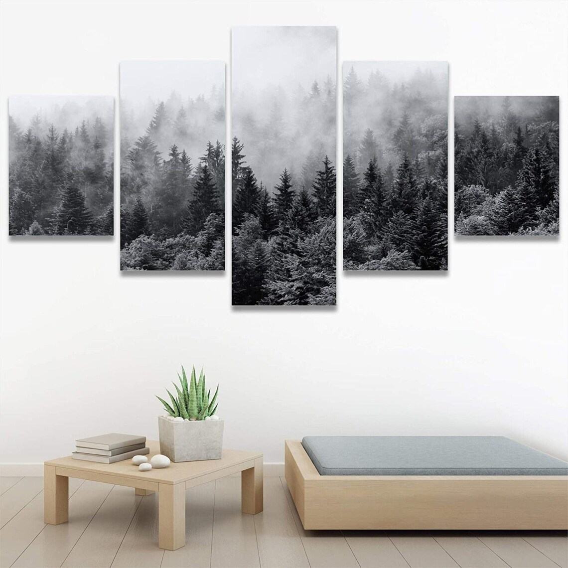 Forest in smog 5 piece wall art canvas
