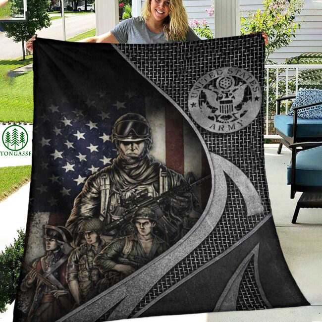 Four soldiers Veteran Fleece Blanket