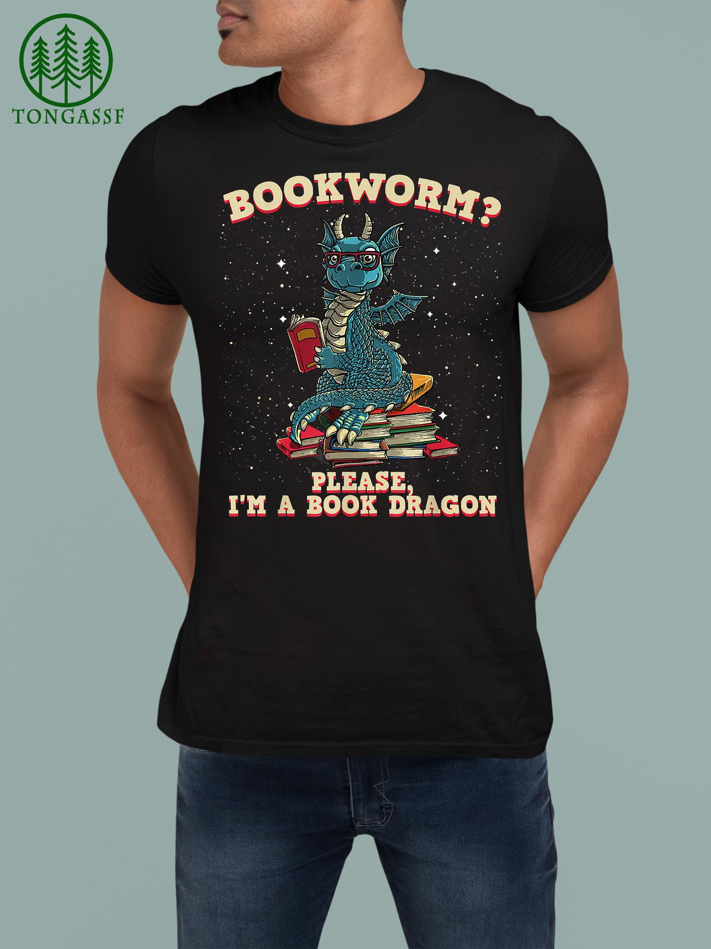 Funny Bookworm Book Dragon Reader Library Shirt