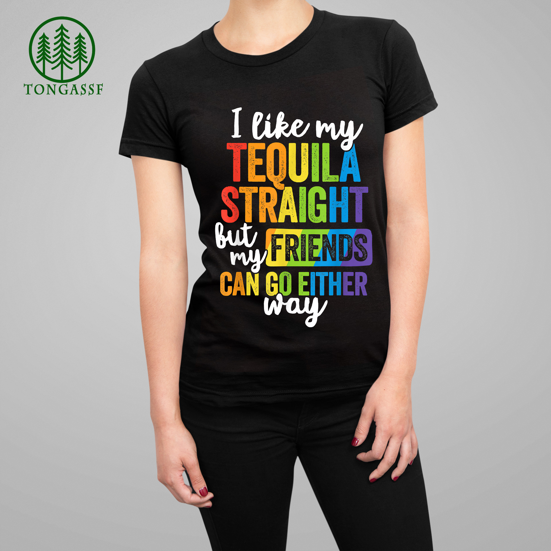 Funny LGBT Ally Gift Tequila Straight Friends Go Either Way T-Shirt