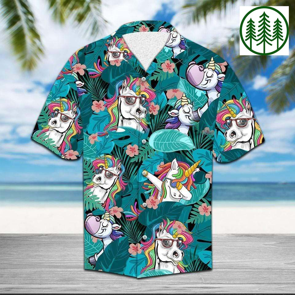Funny Unicorn Green Tropical Hawaiian Shirt