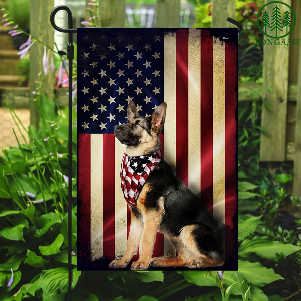 German Shepherd American Flag