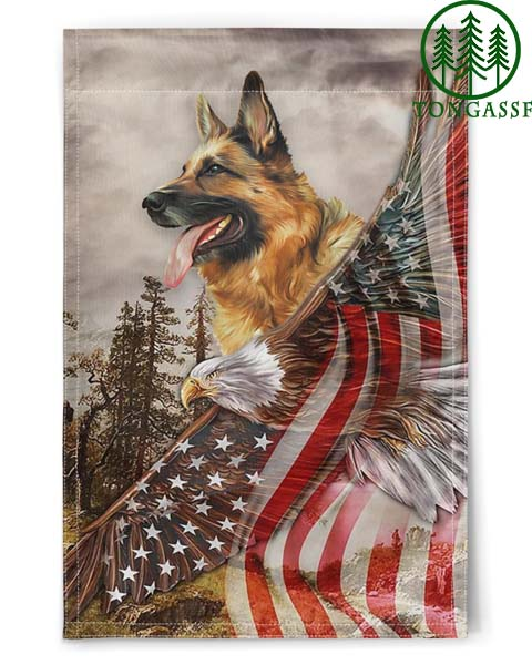 German Shepherd Eagle Nation Protected By God American Flags