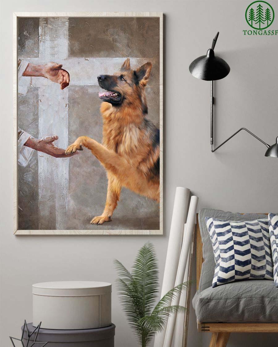 German Shepherd god hand save us for dog lover Poster