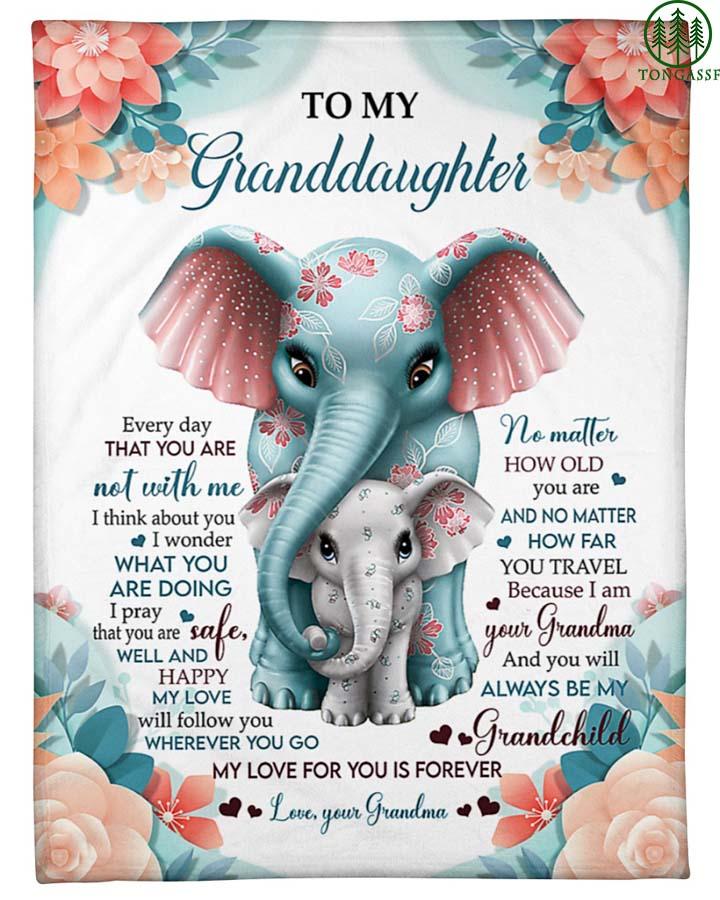 Gift for granddaughter Elephant Fleece Blanket