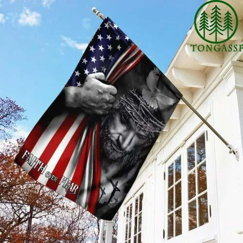 God Jesus Faith over Fear American US Flag