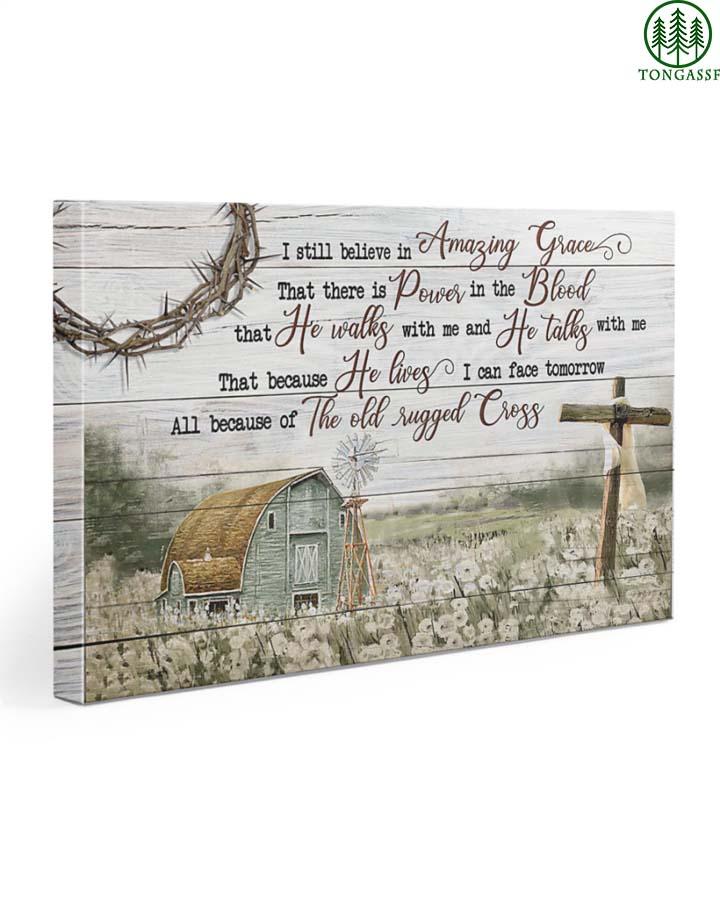 God save me rugged cross peaceful farm fammer canvas