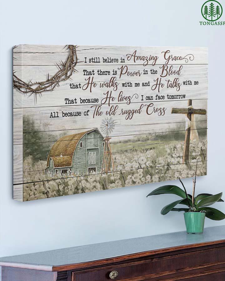 God save me rugged cross peaceful farm farmer canvas