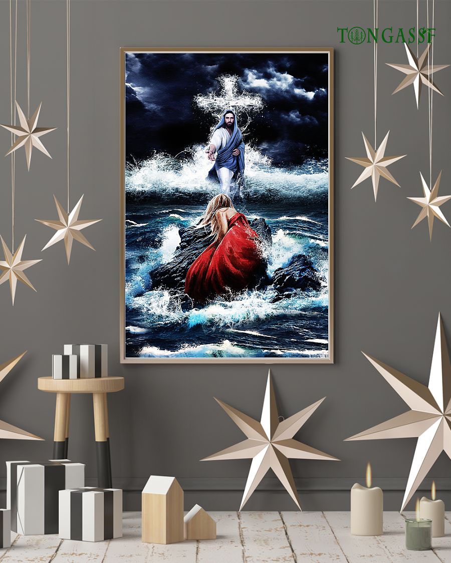 God walks on angry ocean Jesus poster
