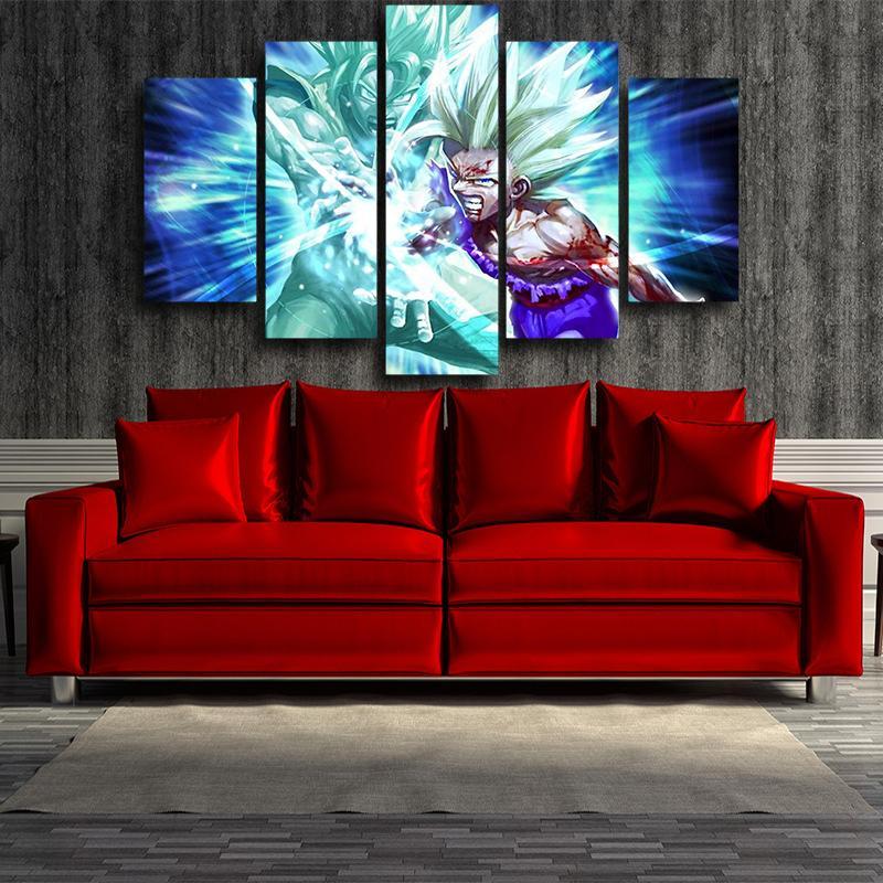 Goku And Gohan Super Saiyan Kamehameha Wave Blue 5 panel Canvas