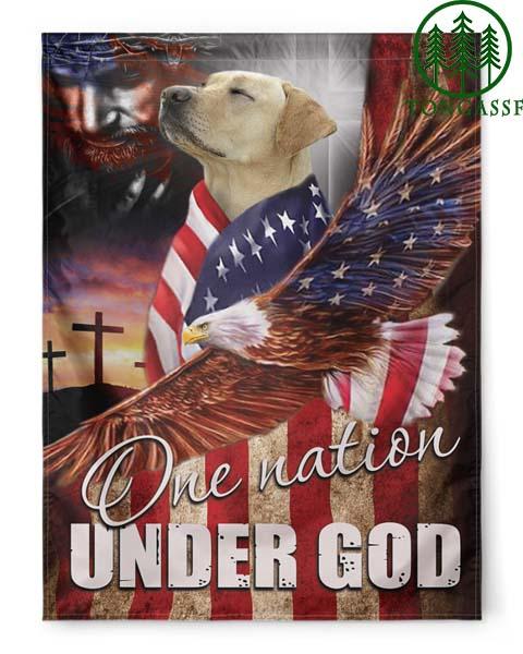 Golden Retriever Eagle One Nation Under God Flags