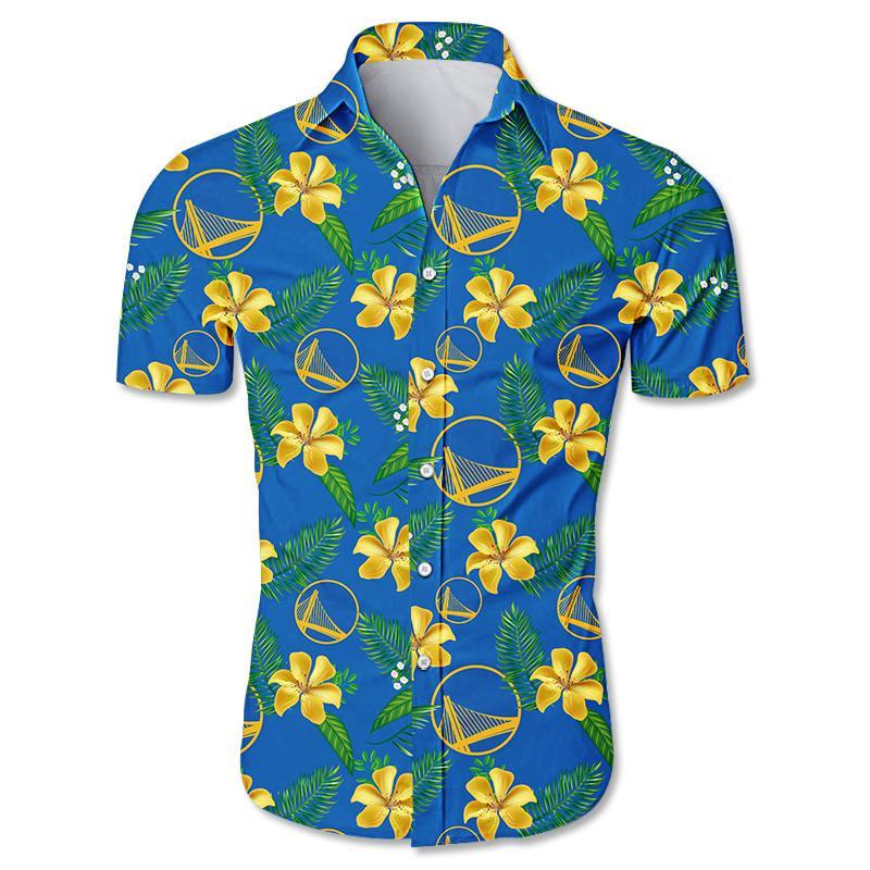 NBA Golden State Warriors Floral Hawaiian Shirt Small Flowers