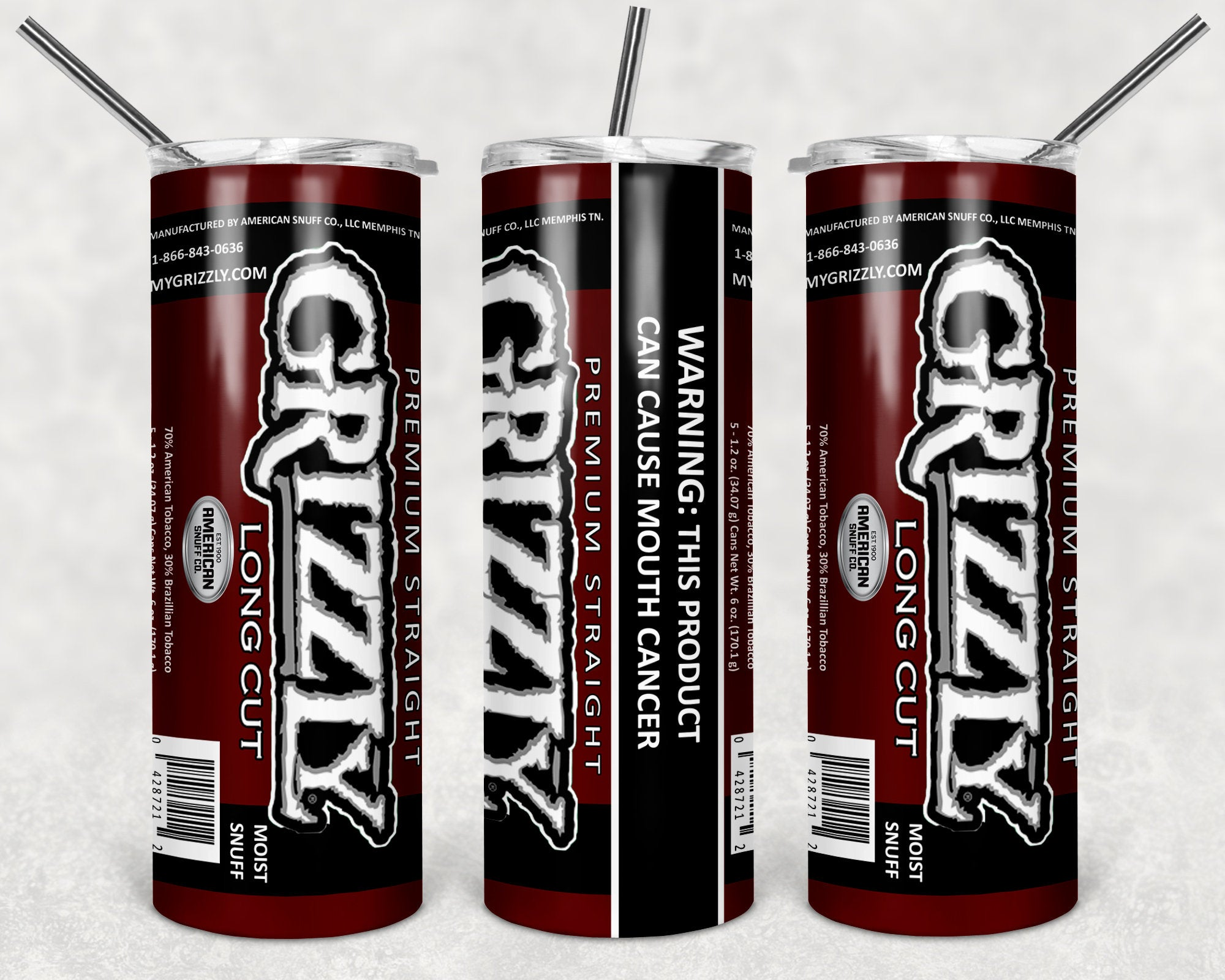 Grizzly Straight Skinny Tumbler