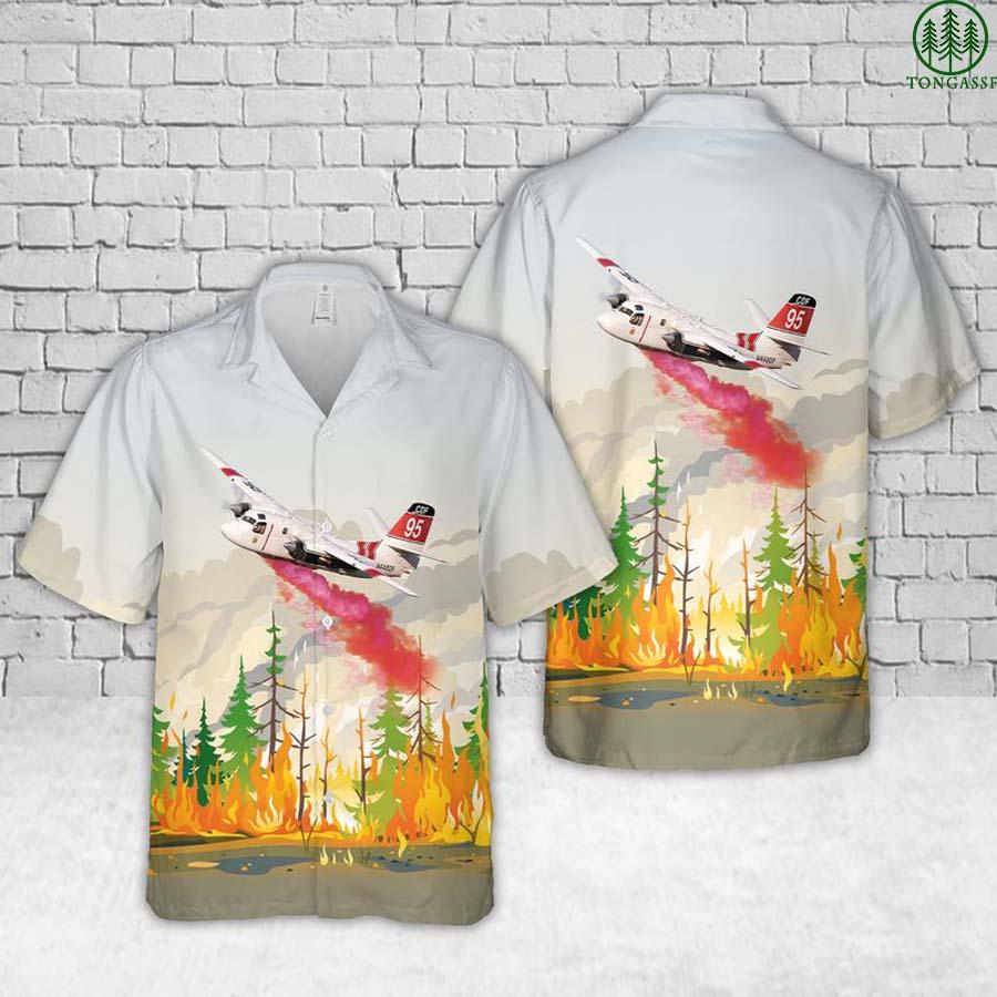 Grumman S-2F3AT Turbo Firecat Cal Fire Air Tanker Wildfires Hawaiian Shirt and Short