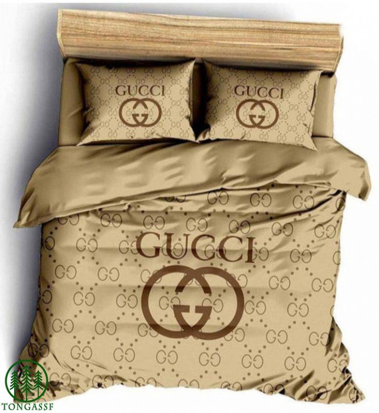 Gucci high-end brand brown bedding set