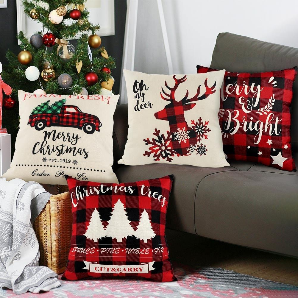 Christmas Themed Cushion Pillow 4 Piece Set