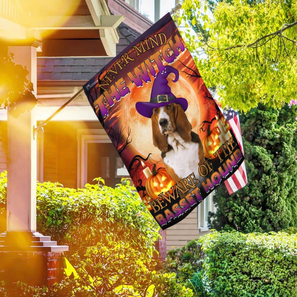 Halloween Beware Of The Basset Hound House Flag Garden Flag