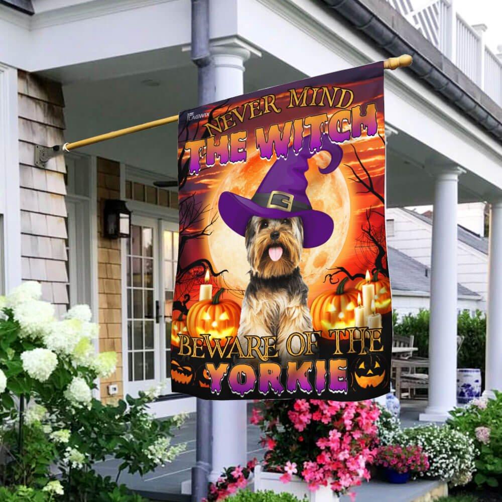 Halloween Beware Of The Yorkie House Flag Garden Flag