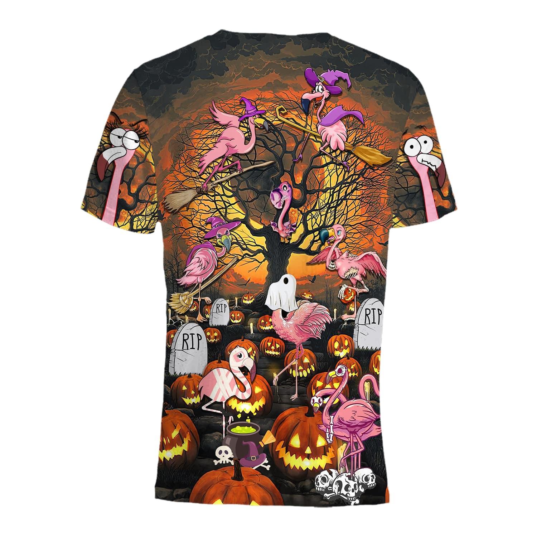Halloween Flamingo ghost at pumpkin field T-shirt hoodie and sweatshirt