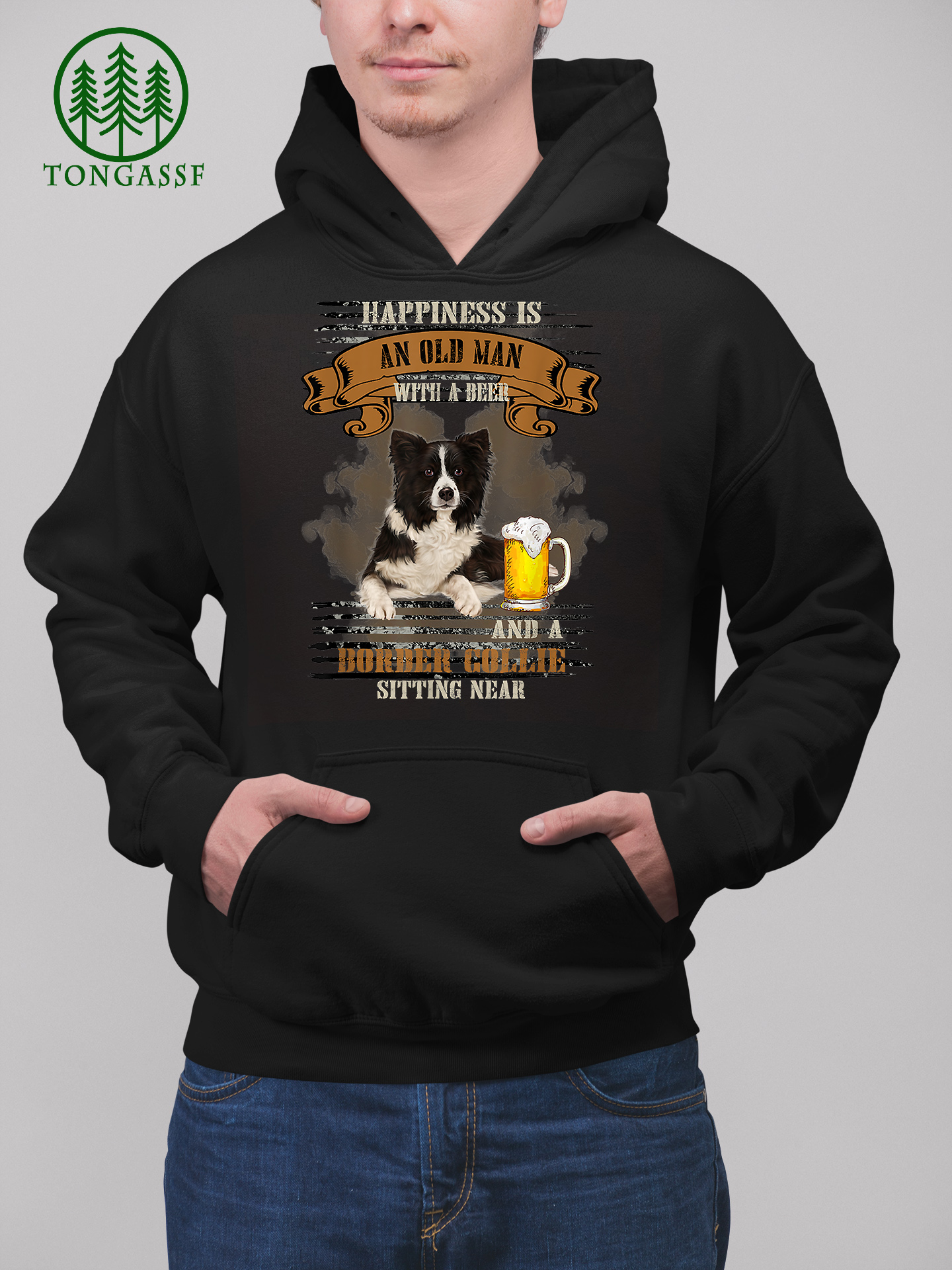 Happiness Is An Old Man With Beer And A Border Collie Hoodie Shirt