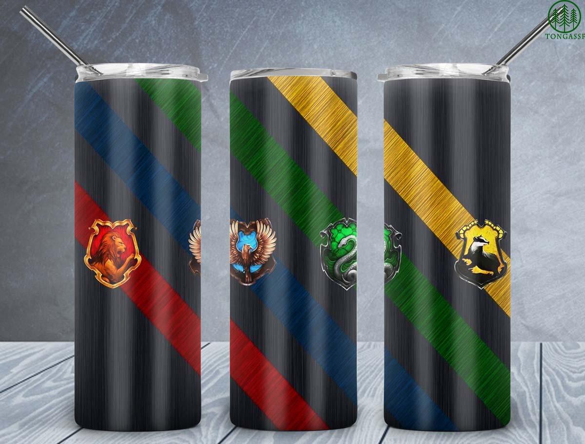 Harry Potter Hogwarts 4 Houses animal skinny tumbler