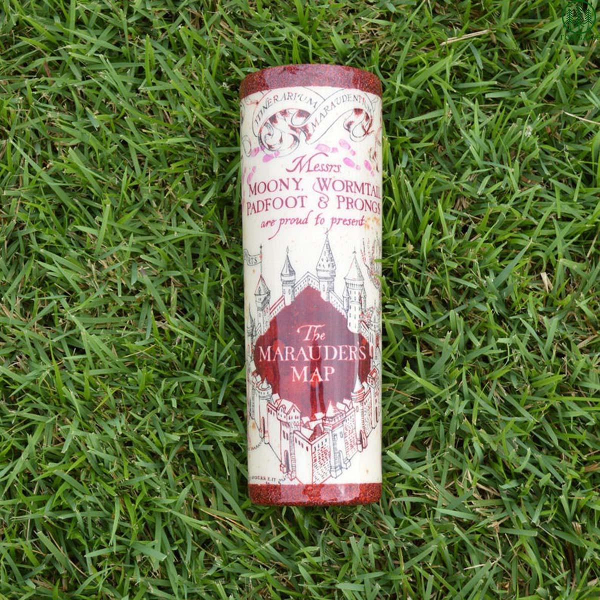 Harry Potter Marauders Map red glitter skinny tumbler