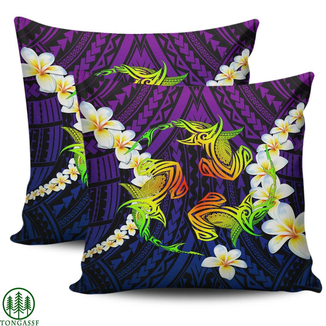 Hawaii Hammerhead Sharks Polynesian Plumeria Pillow Cover