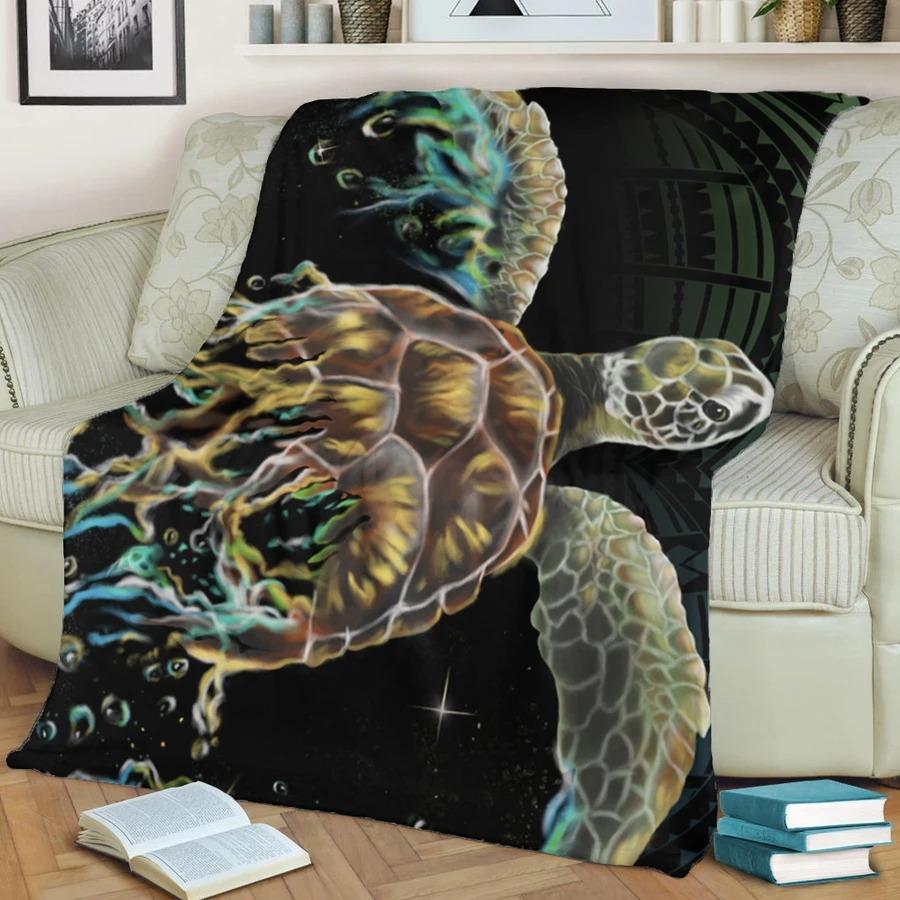 Hawaii Sea Turtle Polynesian Fleece Blanket