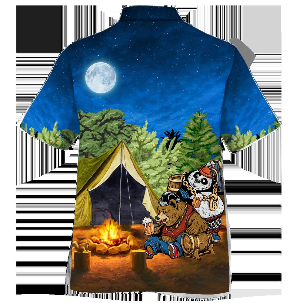 Bear Camping Hawaiian Shirt Tshirt 3D