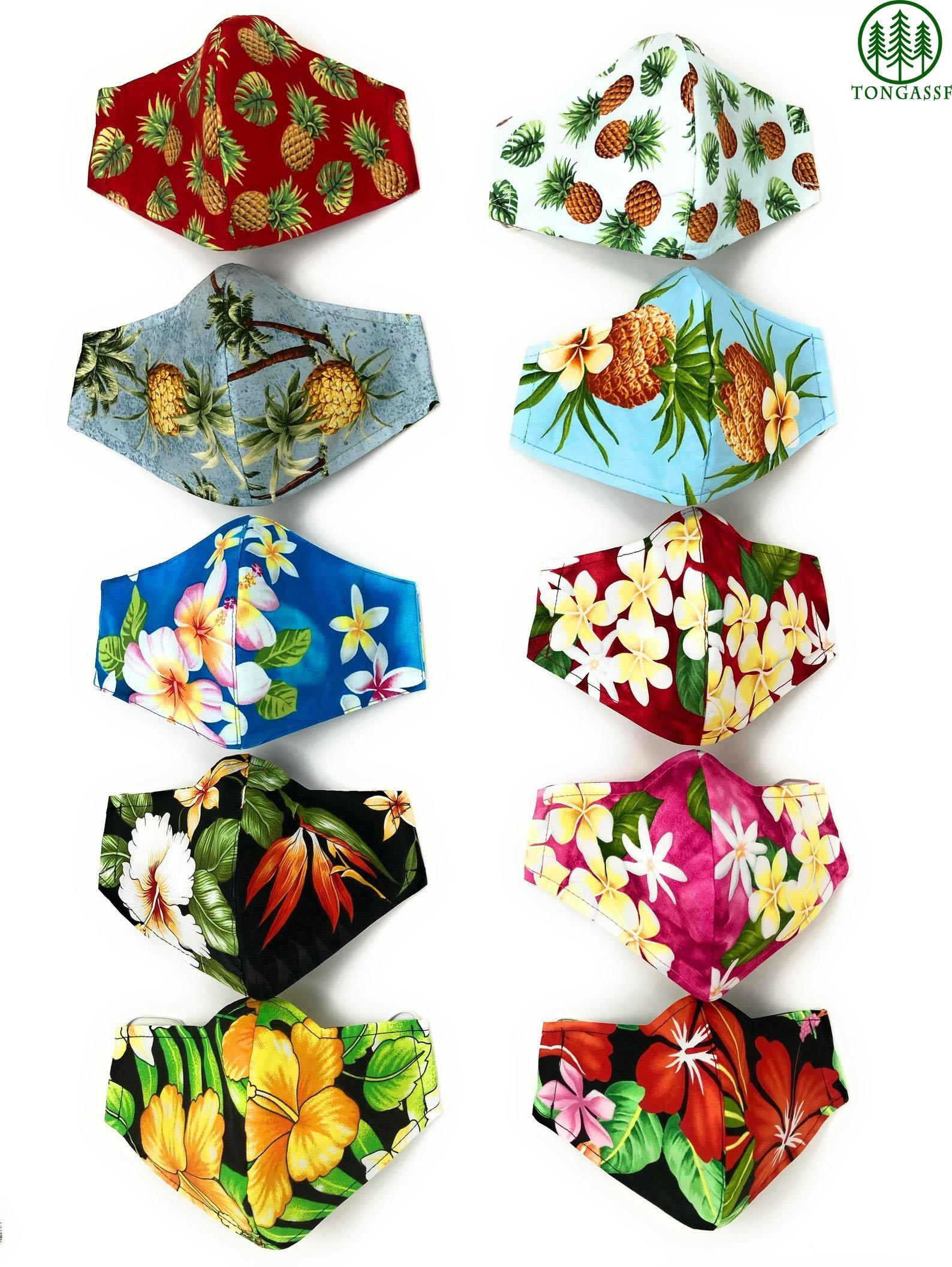 Hawaiian Hibiscus Plumeria Pineapple Face Masks