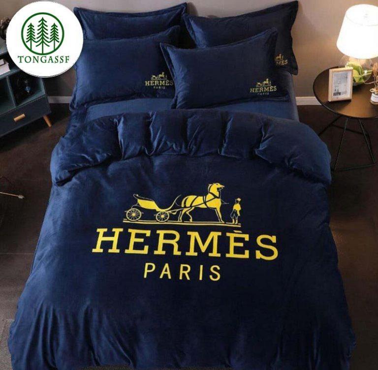 Hermès Paris luxury dark tone bedding set 1