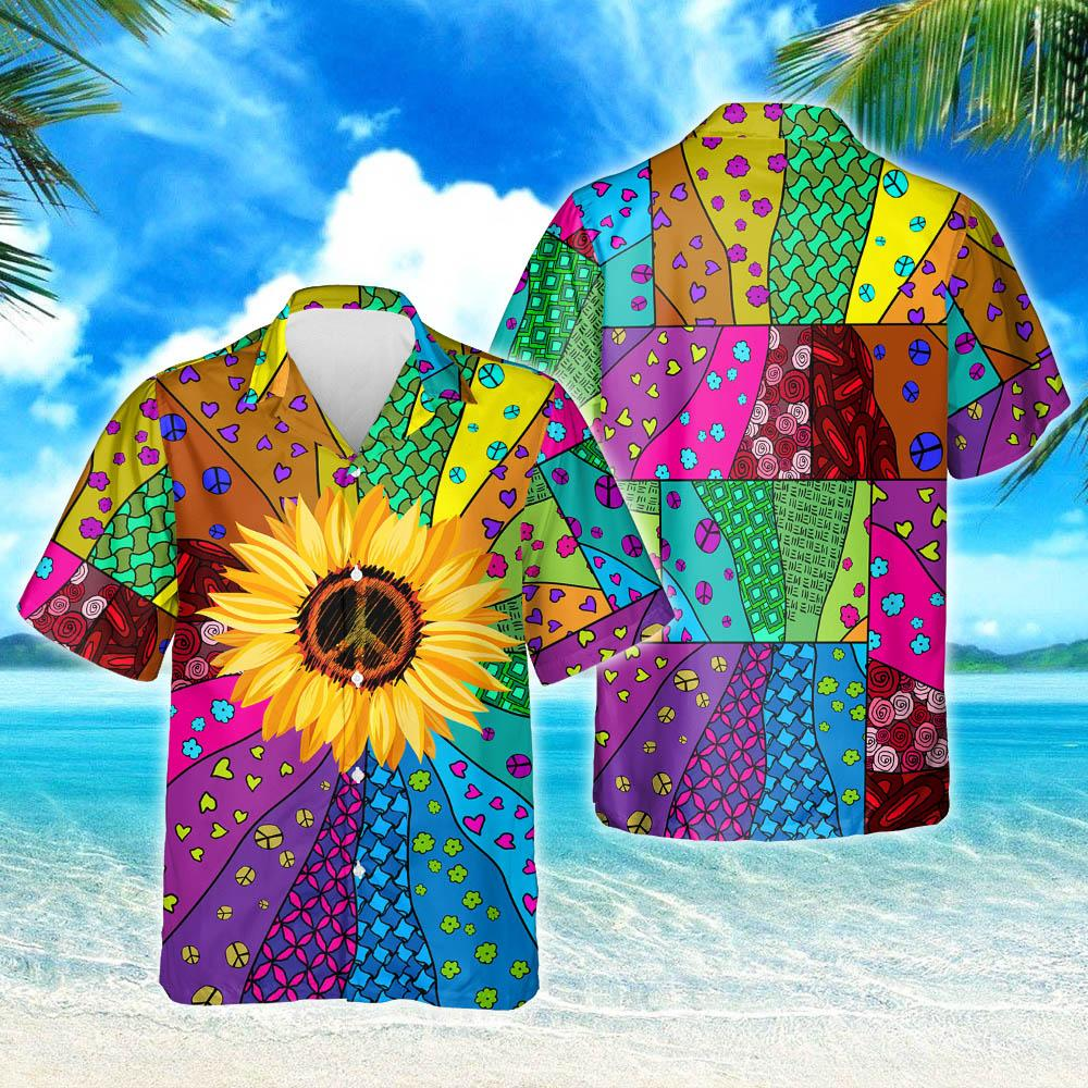Hippie Sunflower Hawaiian Shirt