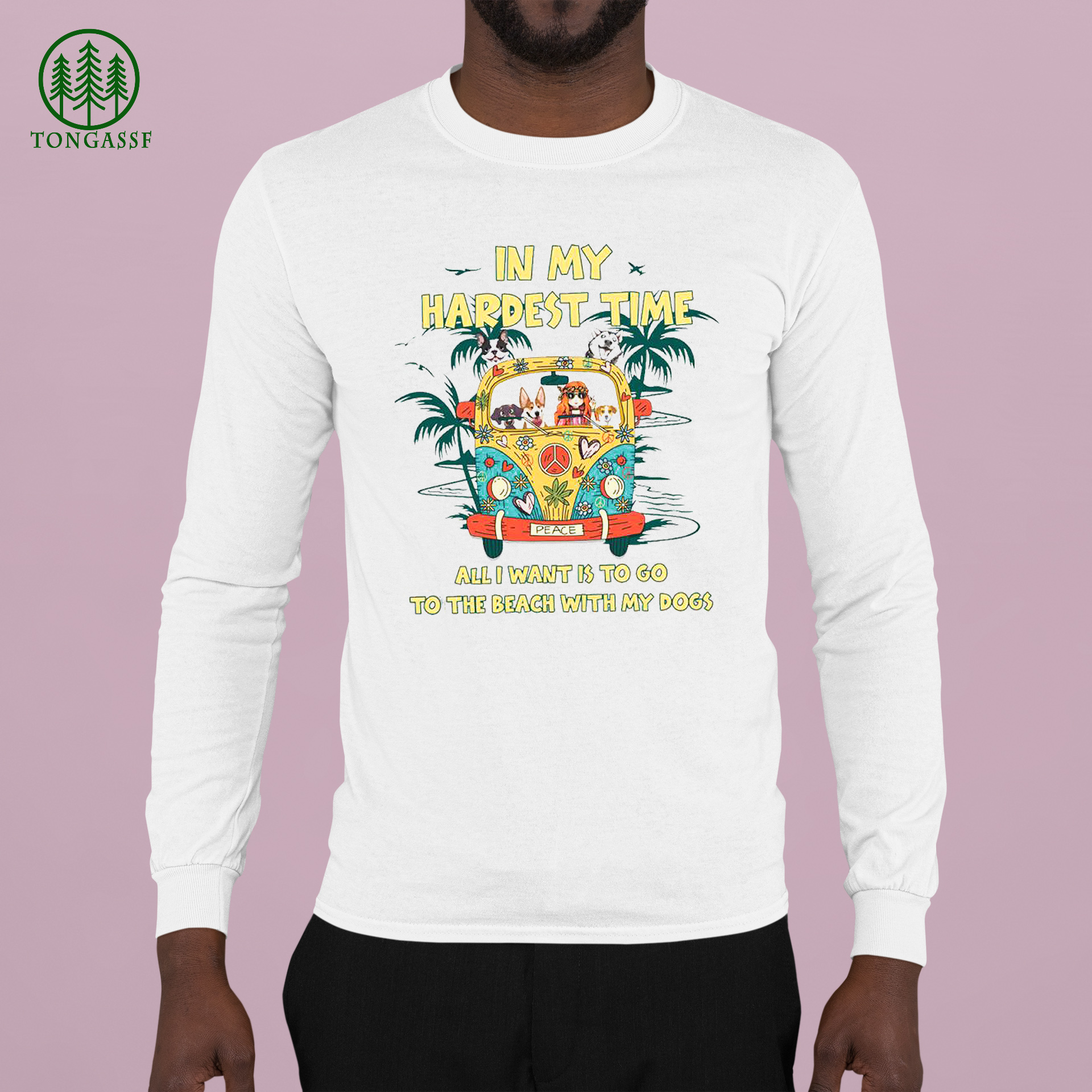 Hippie and Dogs In my hardest time all I want Is to go to the beach with my dogs shirt (2)