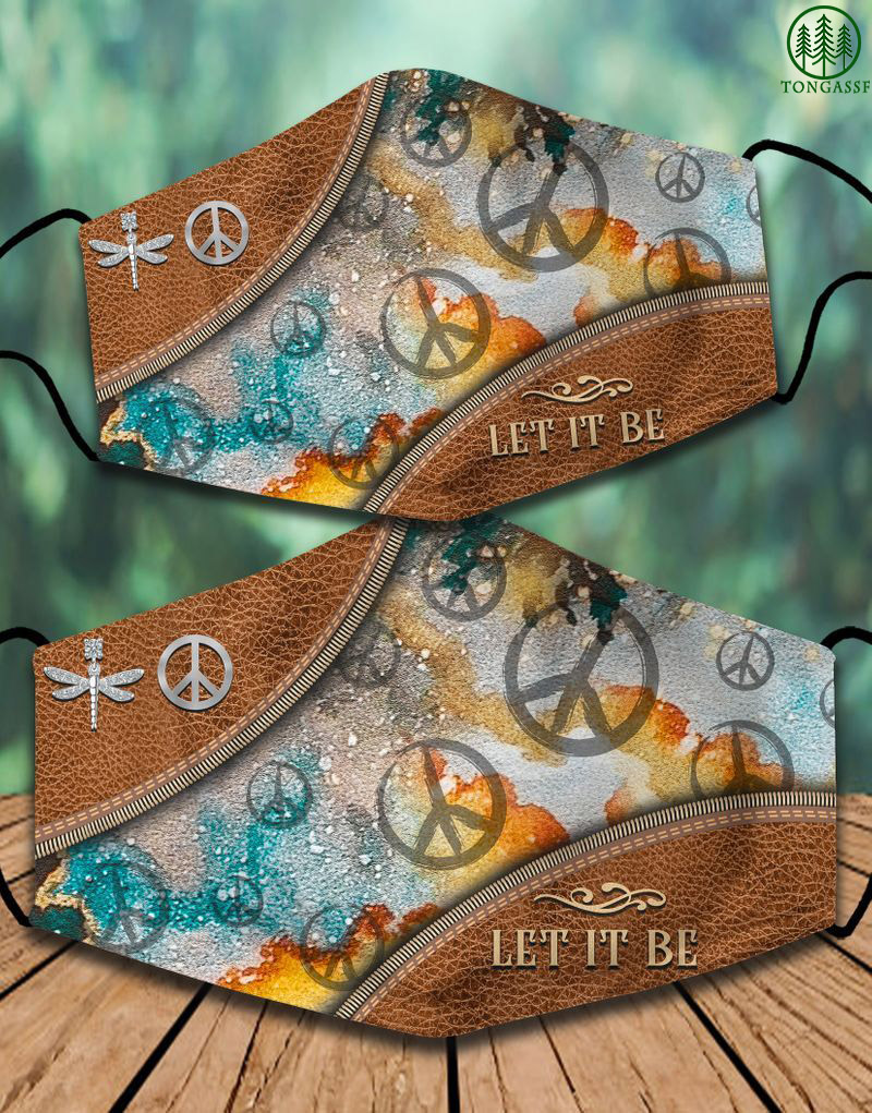 Hippie symbol dragonfly Let it be face mask