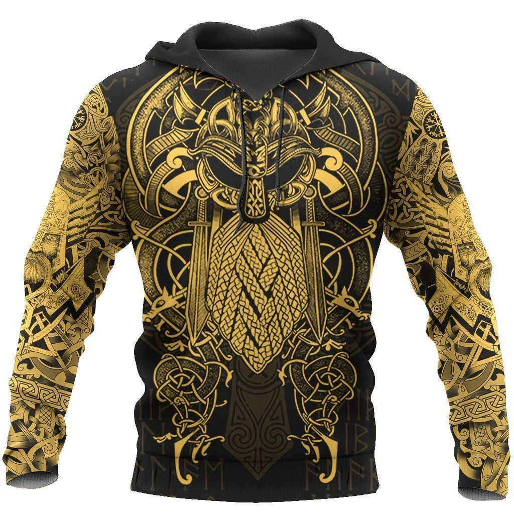 Vikings Classic The Raven Yellow of Odin Tattoo Hoodie 3D