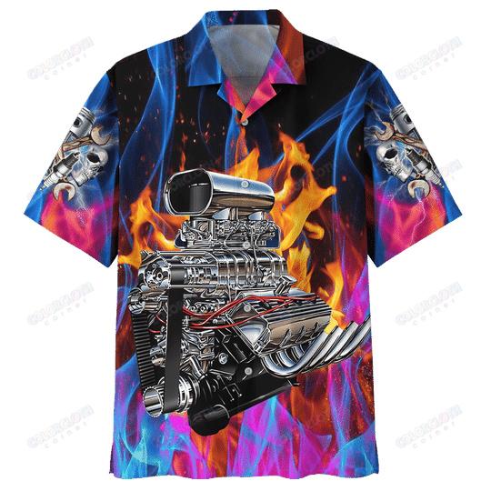 Hot Rod Fire Hawaiian Shirt