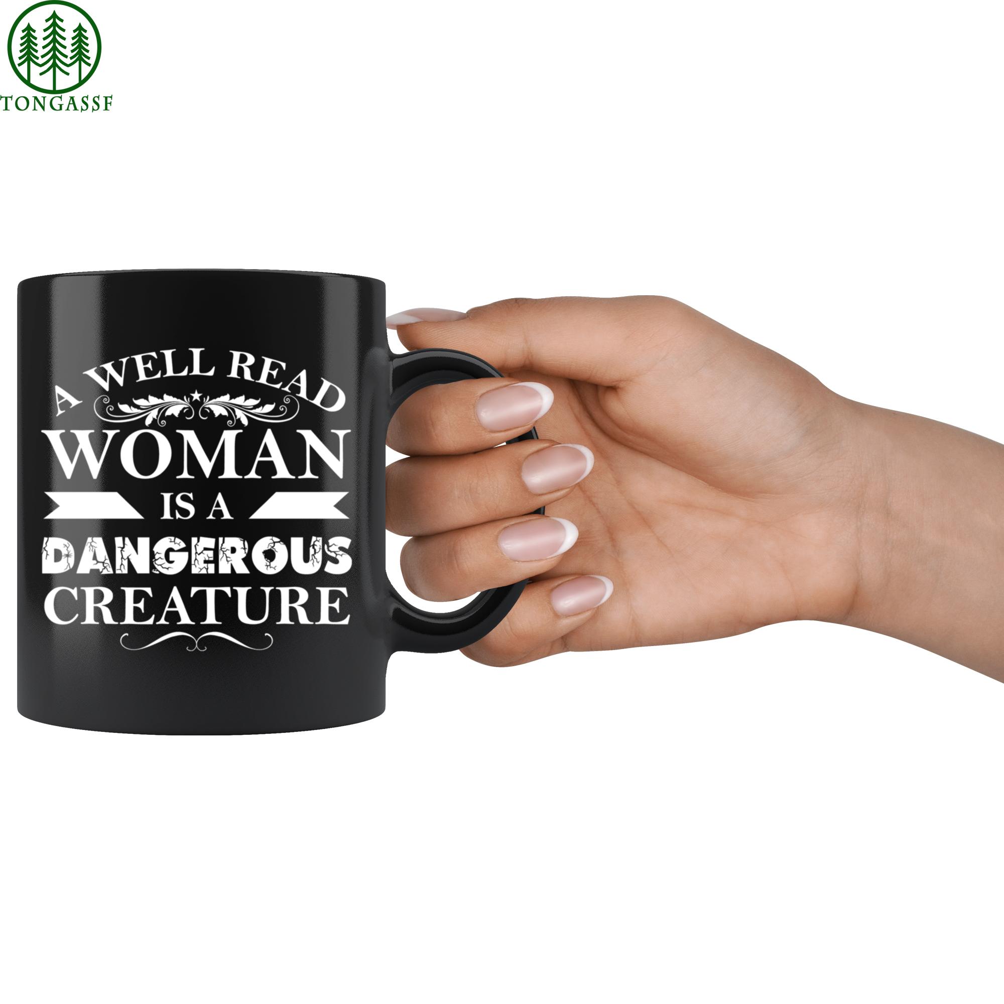 Hot Well Read Woman like Creature Black ceramic Mug