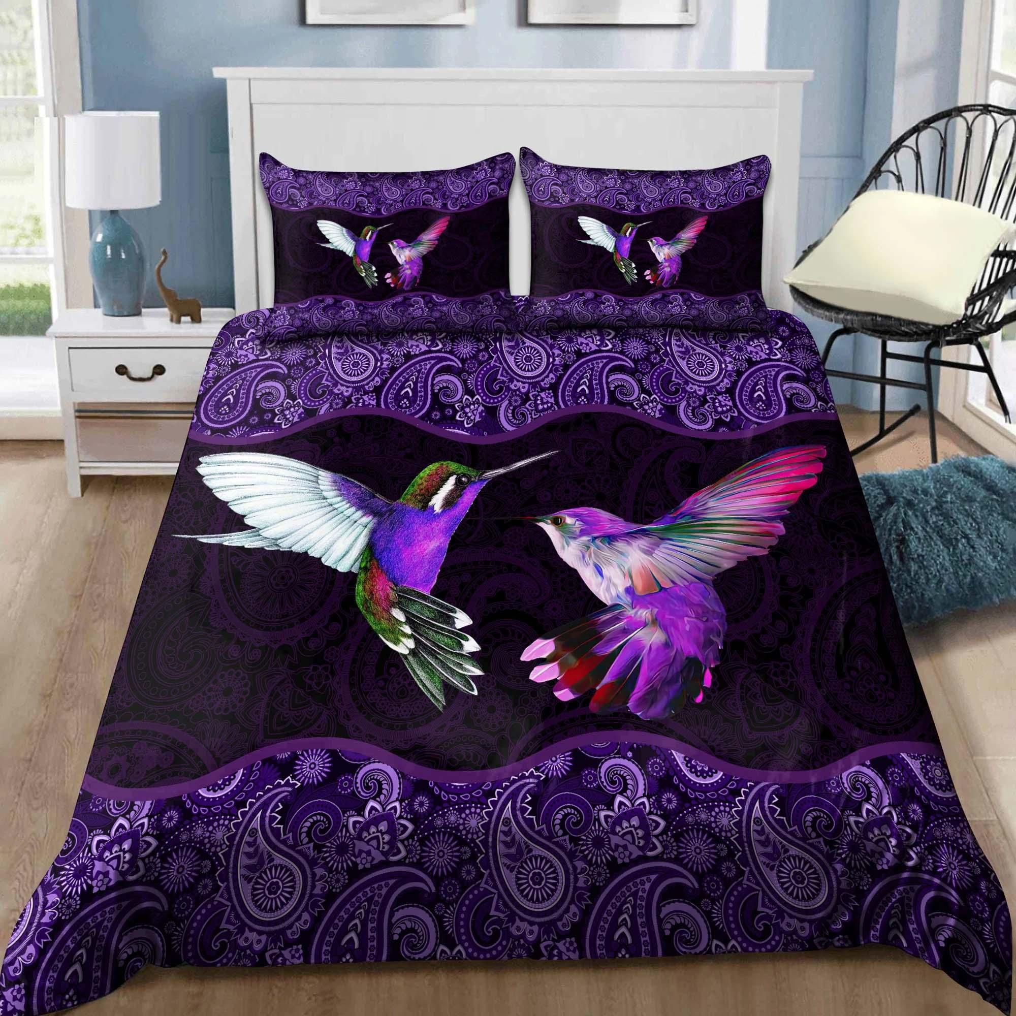 Hummingbird Purple Bedding Set