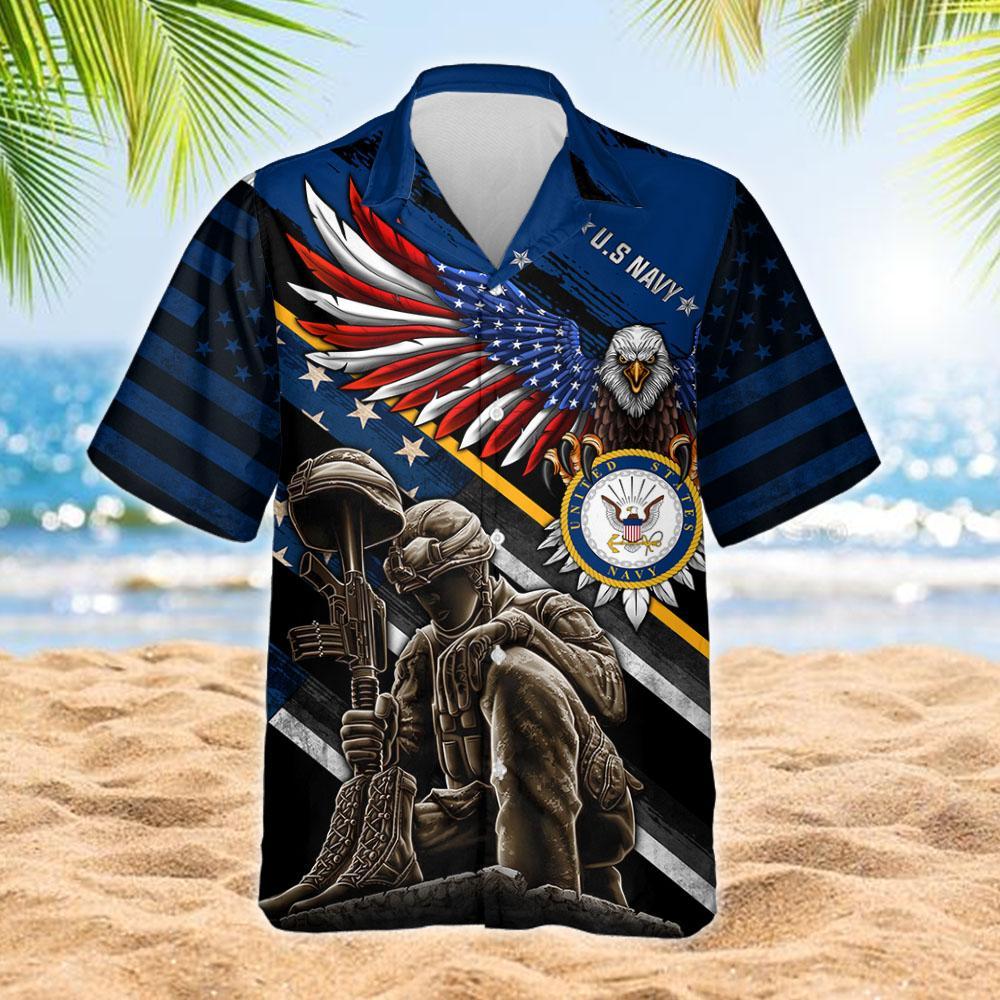 I Am A US Navy Veteran I Am A Proud American Hawaiian Shirt 2