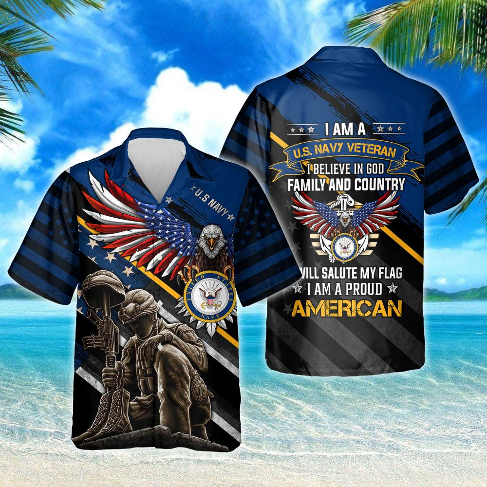 I Am A US Navy Veteran I Am A Proud American Hawaiian Shirt